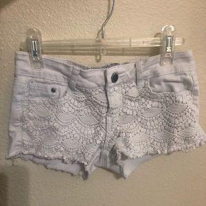 Pants - White Denim Shorts with Detail